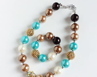 chunky bead necklace baby necklace blue brown champagne bubble gum chunky baby necklace big girl necklace big bead necklace