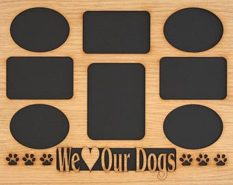 11x14 Dog Picture Frame Collage Mat Insert for Frame - Dog Paws - Dog Photo Frame - Pet Gift - Use for Pet Memorial - Pet Frame