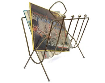 Vintage Metal Magazine Rack or Record Holder Mid Century Home Decor Gold Metal Wire Rack Living Room Decor Wire Rack Record Storage