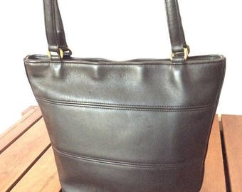 15%OFF VACATION SALE Vintage Genuine Coach Black Leather Tote Shoulder Bag Made in the United States