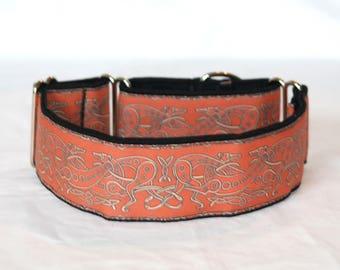 """2"""" Martingale Dog Collar Celtic Greyhounds - Orange on Black Backing"""