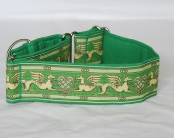 "2"" Martingale Dog Collar Greyhound Angels & Hearts - Green"