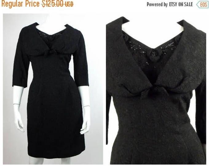 SUMMER SALE 1950's Little Black Wiggle Dress // Portrait Collar Beaded Black Matelassé Dress // LBD //  Marilyn Monroe Wiggle Dress // Size