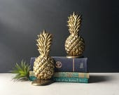 Unique Heavy Brass Pineapple Bookends, Book Holders Tropical Palm Beach Hollywood Regency, Solid Brass Pair of Bookends