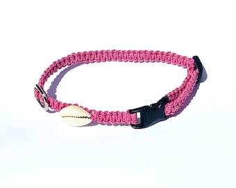 Pink Hemp Collar, Small Dog, Shell, Cat, Kitten, Puppy Collar, Boho, Adjustable, Beach