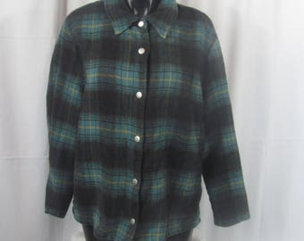 Vintage Womens 90s Plaid Button Down Long Sleeve Top
