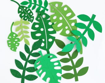 Tropical leafs, leaf cut outs, tropical party, Hawaiian party, Moana party, Tropical backdrop, Leaf backdrop, scrapbooking leafs, leafs