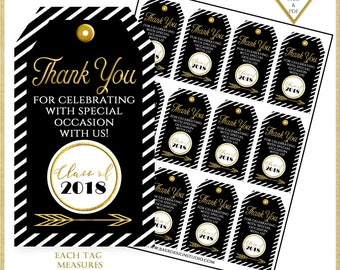 Printable Graduation Tags, Black and Gold Printable Tags, Graduation Thank You Tags, Black and White Thank You Tags, Party Favor Tags, #1238