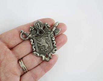 Vintage Medieval Knights Helmet Heraldic Shield Crossed Swords Lion Crest Coat of Arms