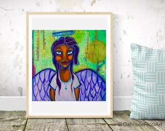 Mixed Media Art Print Angel Green