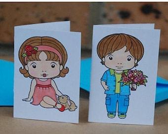 Small Marci and Luka Cards Handmade Hand Coloured