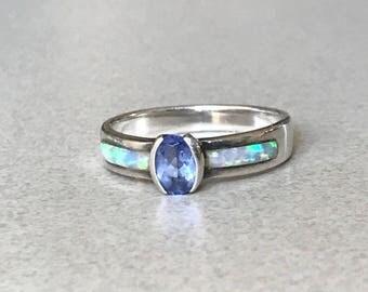 Tanzanite Opal Sterling Silver Ring