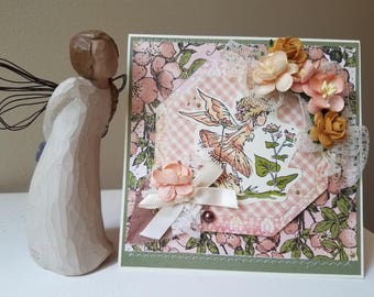Handmade Embellished Card - Fairy Delight