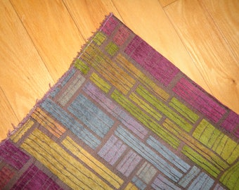 Vintage Remnant of Velveteen Upholstery Fabric which is reversible and in Very Good Condition for a Mod Abstract Geometric Design Decor