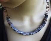 Boho short necklace | sari silk, viking knit chain, copper necklace, viking jewelry, artisan necklace, boho layering necklace