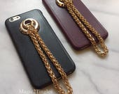 Classic Unique Gold Metal Chain Hook Ring Lanyard Wristlet Soft Cover Case For iPhone 6S or 6S PLUS Leather Pattern