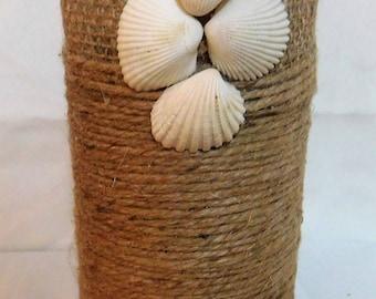 Burlap Wrapped Cylinder Vase
