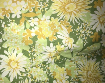 Vintage Green Multi Print Floral Twin Flat Bed Sheet