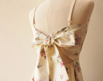 Open Back Bow Dress BFF with Wings White Floral Dress Cotton Dress Natural Vintage Floral Spaghetti Straps Dress White Sundress Mod Clothing