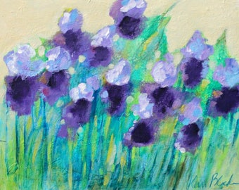 """Small Original Floral Painting, Abstract Art, Purple Flowers """"Happy Irises"""" 11x14"""""""