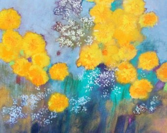 """Abstract Floral, Wildflower Painting, Colorful, Nature Inspired Acrylic Painting """"Magic in the Marigolds"""" 20x20"""""""