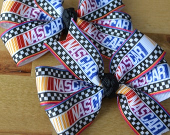 Set of Two Nascar Hair Bows Race Car