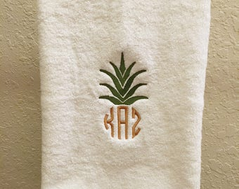 Pineapple Monogram Hand Towel, custom, tropical, personalized, hawaii, pineapple decor, home decorations, pineapple bathroom, hawaiian home