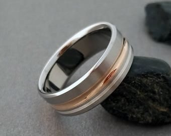 Solid Rose Gold and Sterling Silver Titanium Ring, Concave Ring, Mens Titanium Ring, Womens Band, Wedding Ring, Engagement Ring, Inlay Ring