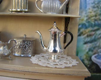 Dollhouse Miniature Vintage Victorian Style Shiny Silver Metal Coffee Pot with Black Enameled Handle