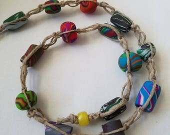 Multi-Colored Hemp Necklace, switch knot rainbow clay bead necklace, hippie necklace