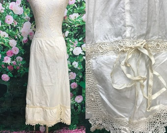 Antique Edwardian Cotton Irish Crochet Lace Petticoat Slip