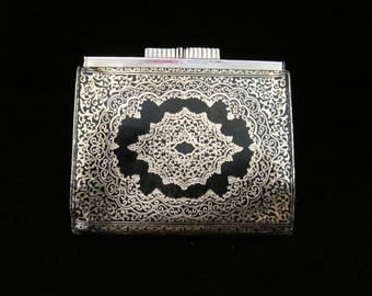 Vintage Gold Embossed Leather Wallet Black Italian Calfskin Coinpurse Elaborate Exotic Design Goldtone Metal Kiss Clasp