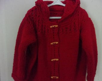 Hand knit toddler hooded sweater with toggle buttons - bulky knit in Red - ready to ship