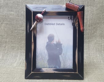 Fishing Picture Frame - Distressed Black Beveled 5 x 7 - Bobber and Fishing Lure - Rustic Wooden