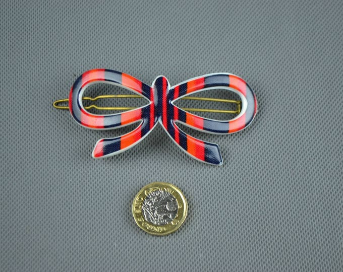 Vintage 1950's 50's Large Plastic BOW Statement French Hair Clip Black Red