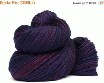 ON SALE: Hand Dyed Worsted Weight Yarn, 327 yards, 100% Superwash Merino, Jeweled Violet