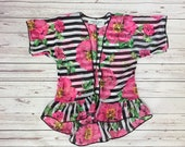 NEW!! Striped Floral print Girls Kimono, Ruffle Trim Kimono, Cardigan, Swim Suit Cover Up, Summer Cardigan, black and white stripe Floral