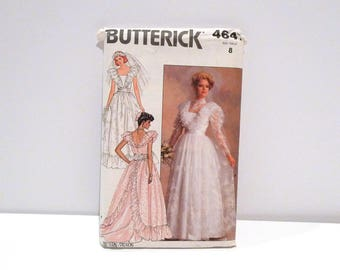 Wedding Dress Never Used Vintage Butterick 4647 Size 8 Sewing Pattern FF uncut 1980s Floor Length Train Lace Overlay Fitted Bodice Princess