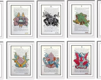 10 Andy Warhol Marilyn Monroe Style Hermann Rorschach Inkblot Test Prints Doctor Psychology Psychiatry Gift Mental Medical Dictionary Art