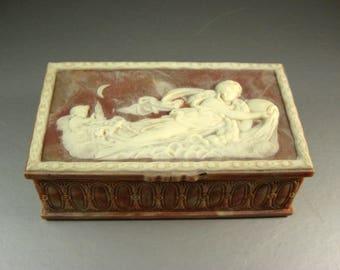 Caramel Brown and White Incolay Stone Jewelry Trinket Box / Goddess Aphrodite Angel Cherubs Putti