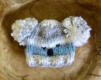 cute baby koala bear hat fits newborn baby 0-3m blue grey boy