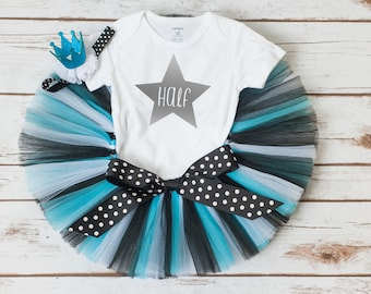 """Star half birthday outfit """"Paige"""" turquoise tutu set star 6 month outfit rock star tutu set turquoise and black half birthday tutu outfit"""