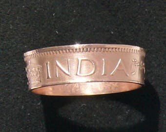 Ladies 1943 India - British 1 Pice Coin Ring, Ring Size 5 and Double Sided