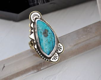 Sky People Collection | Turquoise x Brass x Sterling Silver | Sun Dance Ring