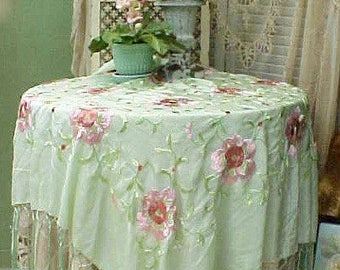 "Beautiful Art Deco Era Piano Shawl-Mint Green,Embroidered Pink Roses-16"" Fringe"