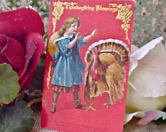 Beautiful Edwardian Era Thanksgiving Postcard-Girl with Turkey