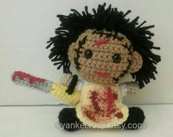 Leatherface - Texas Chainsaw Massacre Inspired Fathead Amigurumi Plush Doll - Baby Big Head - Horror