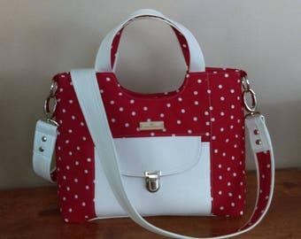 Red and White Polka Dot Purse, Trimmed in White Vinyl, Rosie Pattern