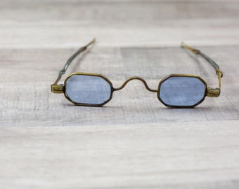 Antique 1800s 1900s Victorian Blue Octagonal Sunglasses Steampunk Glasses