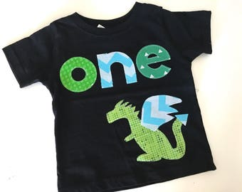 Ready to ship Dragon First Birthday Shirt Boys Shirt One  white blue gift photo prop modern dinosaur